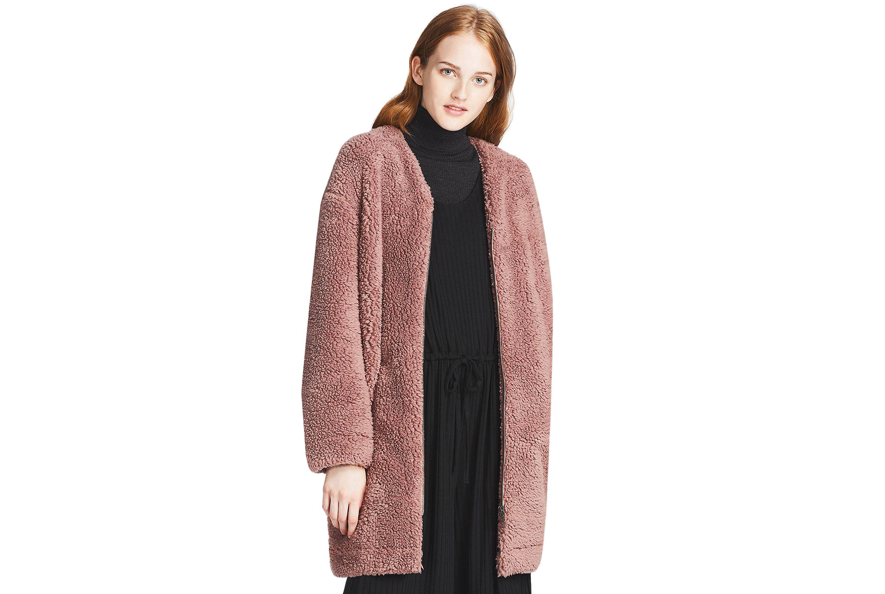 Fluffy Fleece Long-Sleeve Coat