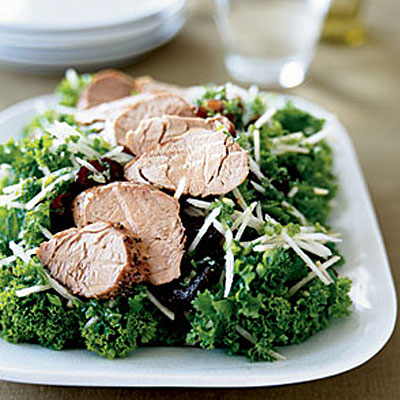 Mustard Greens Salad With Pork and Asian Pear