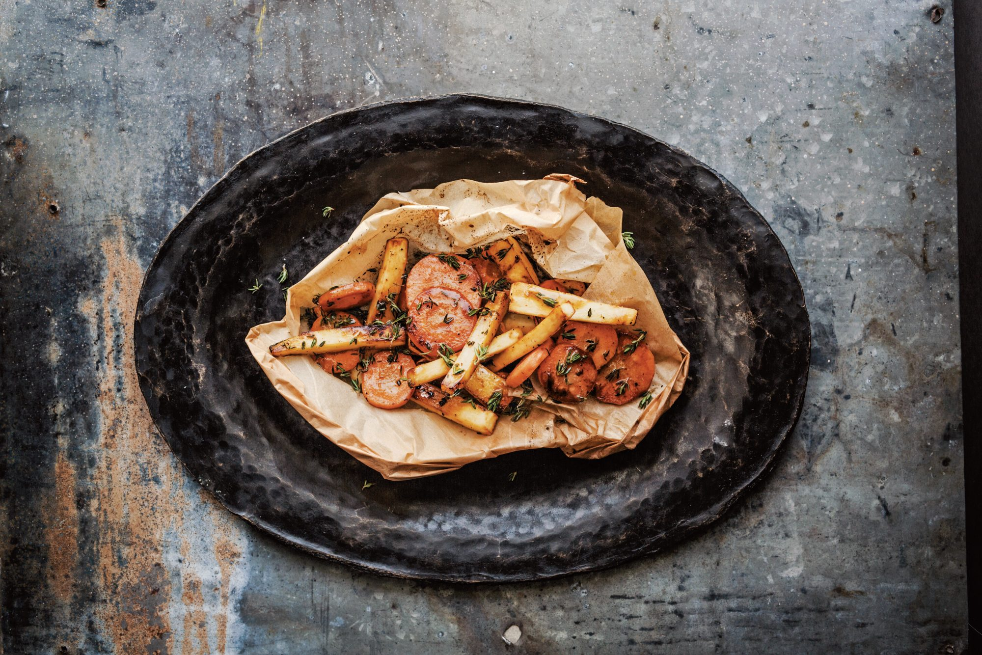 Parsnips and Carrots en Papillote