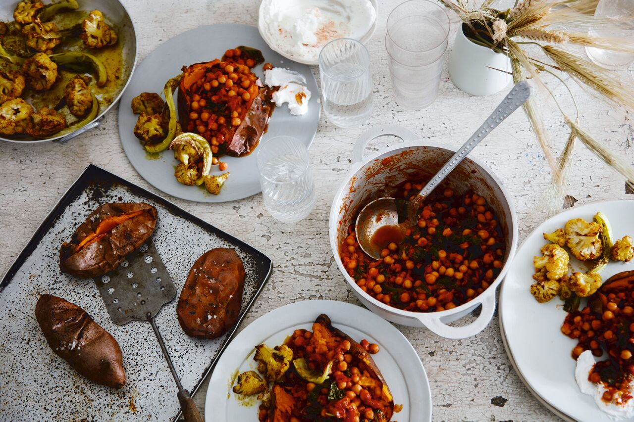Deliciously Ella Natural Feasts Chickpea Chili in Baked Sweet Potatoes recipe