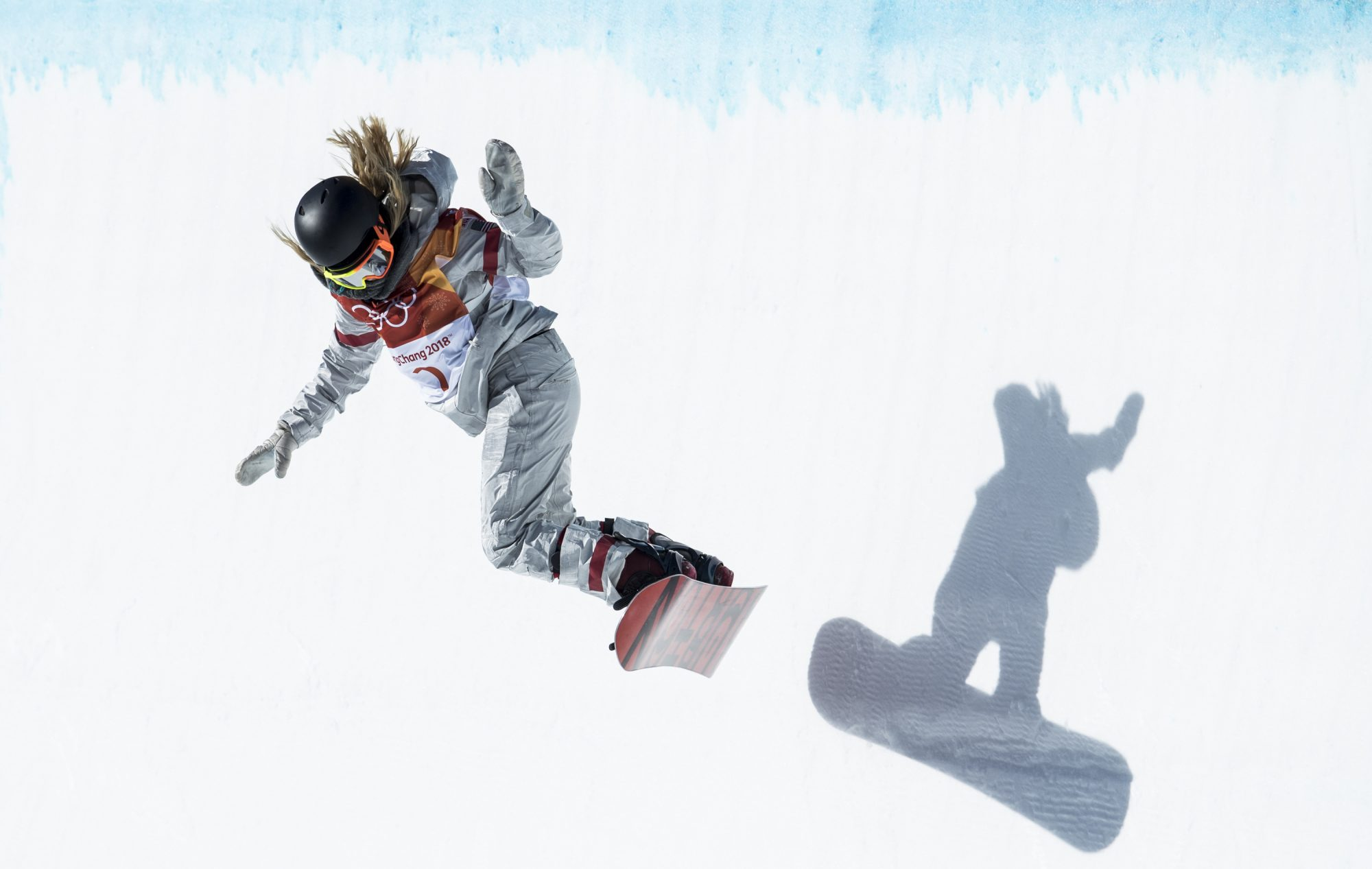 Chloe Kim snowboarding at 2018 Winter Olympics