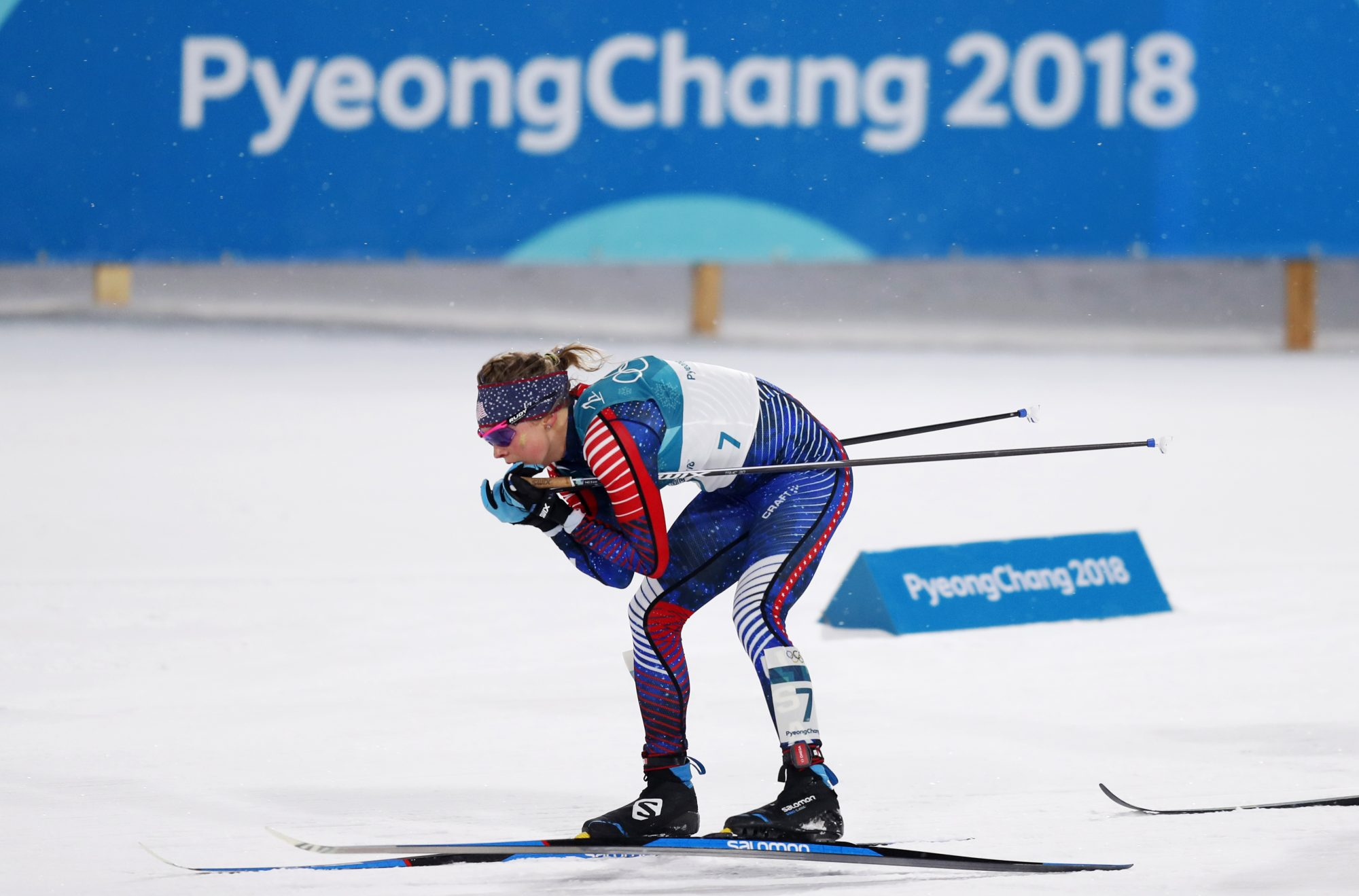 Jessie Diggins cross country skiing at 2018 Winter Olympics