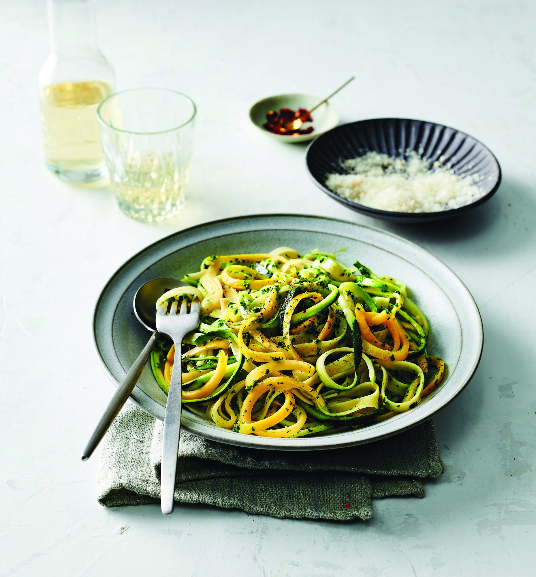 Fettuccine With Squash Noodles & Kale Pesto