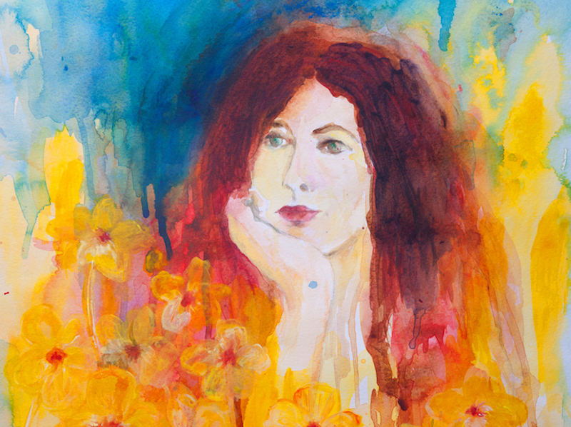 Watercolor painting of woman