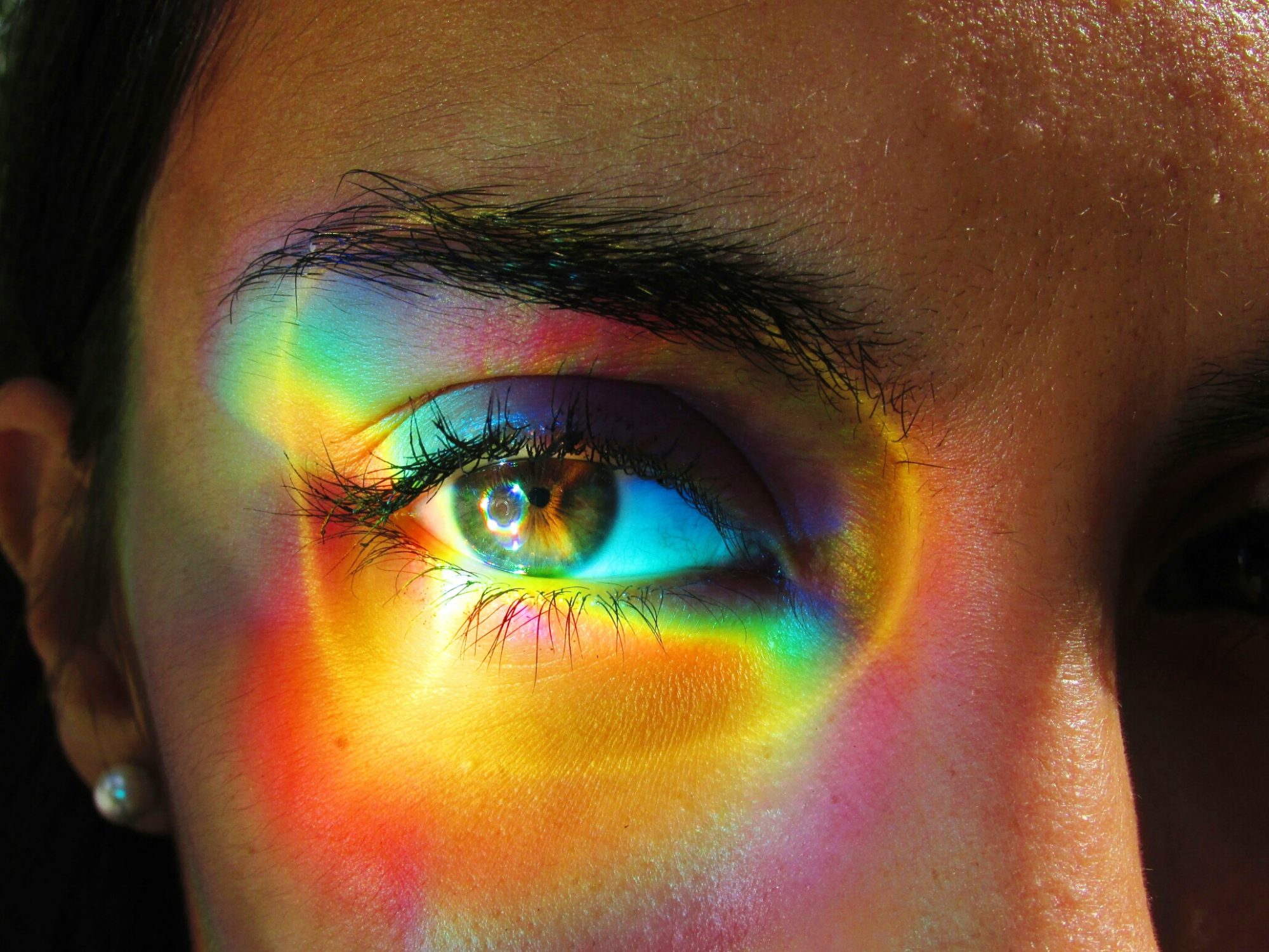 eye pupils show stress rainbow refraction light