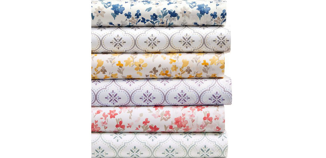 Martha Stewart Collection Cotton Percale 400 Thread Count Solid and Print Sheet Set Collection