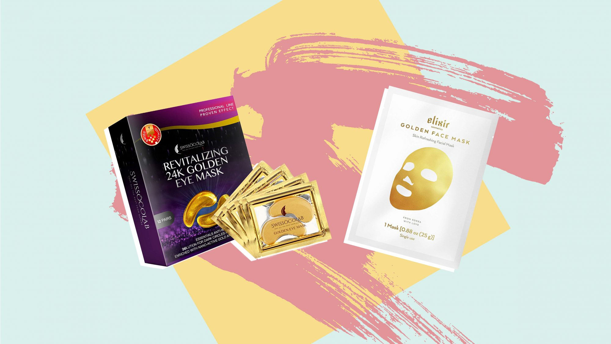 Elixir Cosmetics Gold Korean Face Mask - Moisturizing Collagen & Anti Aging Peel Off Facial Sheet Mask Eye Pads 24k Gold Eye Mask Anti-Aging Hyaluronic Acid Eye Patches Under Eye Mask for Moisturizing & Reducing Dark Circles Puffiness Wrinkles Eye Gel Pad
