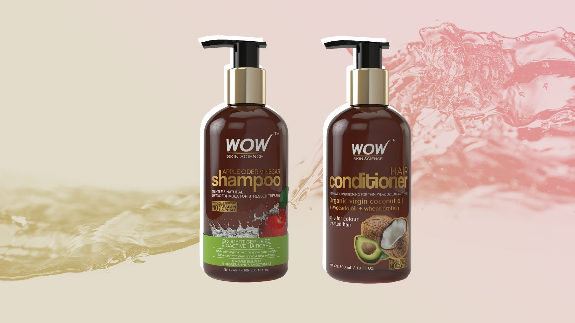 WOW Apple Cider Vinegar Shampoo  Wow Hair Conditioner Set Sulphate  Paraben Free woman beauty product health