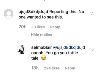 Selma Blair troll comment