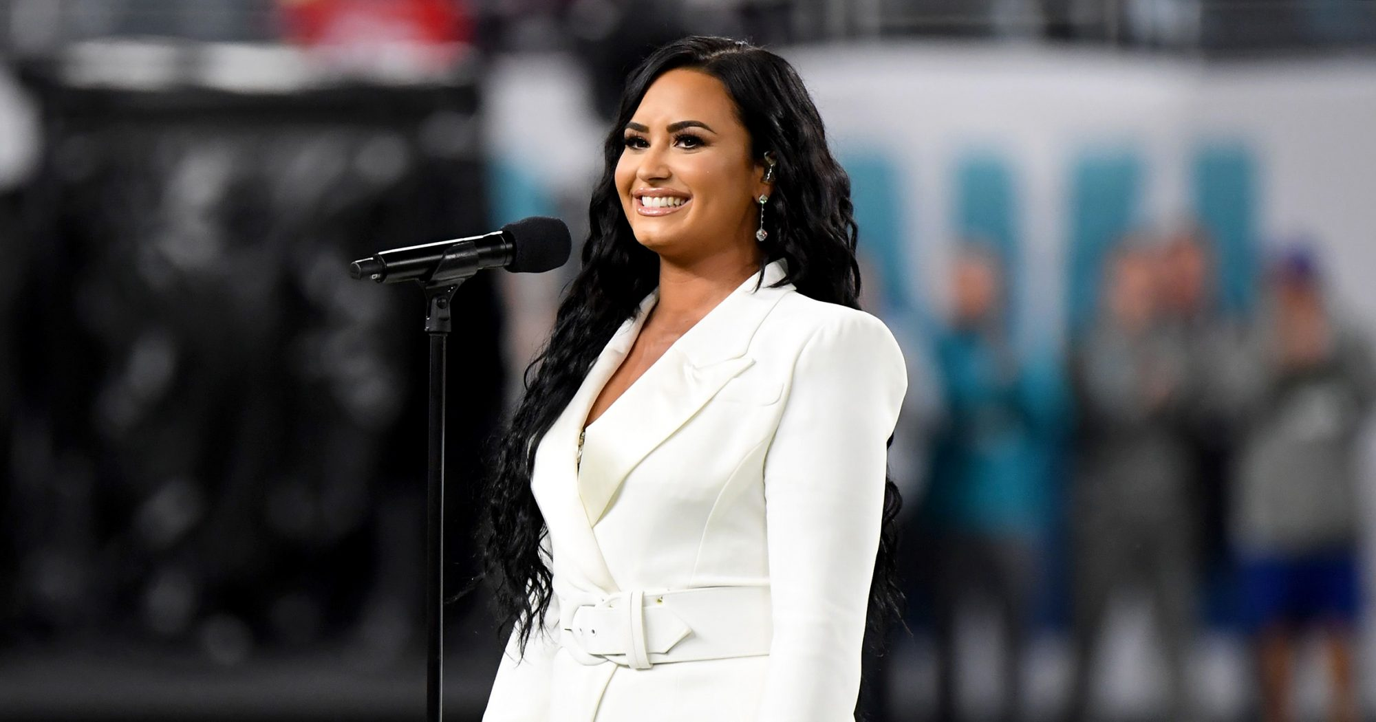 Demi Lovato performing at the 2020 Super Bowl