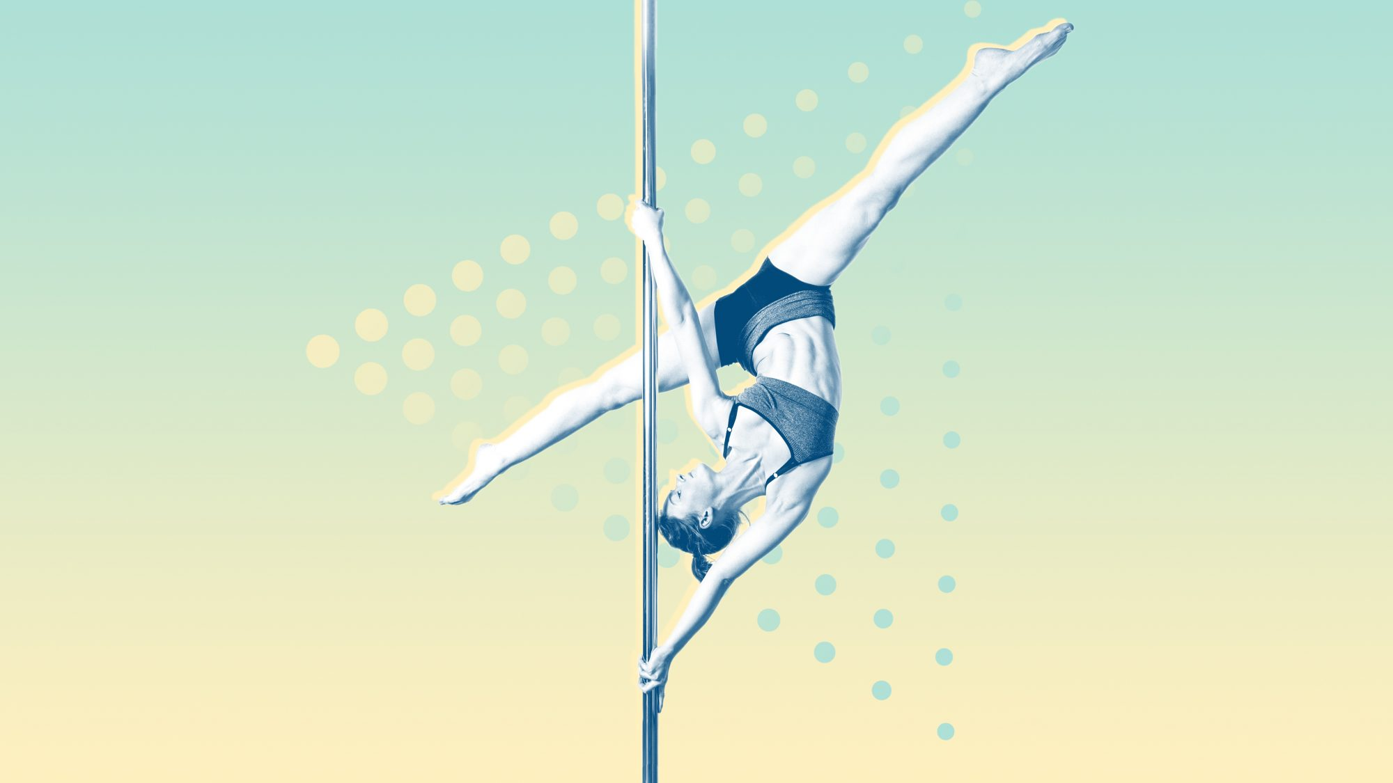 Pole Dancer Performing Against White Background