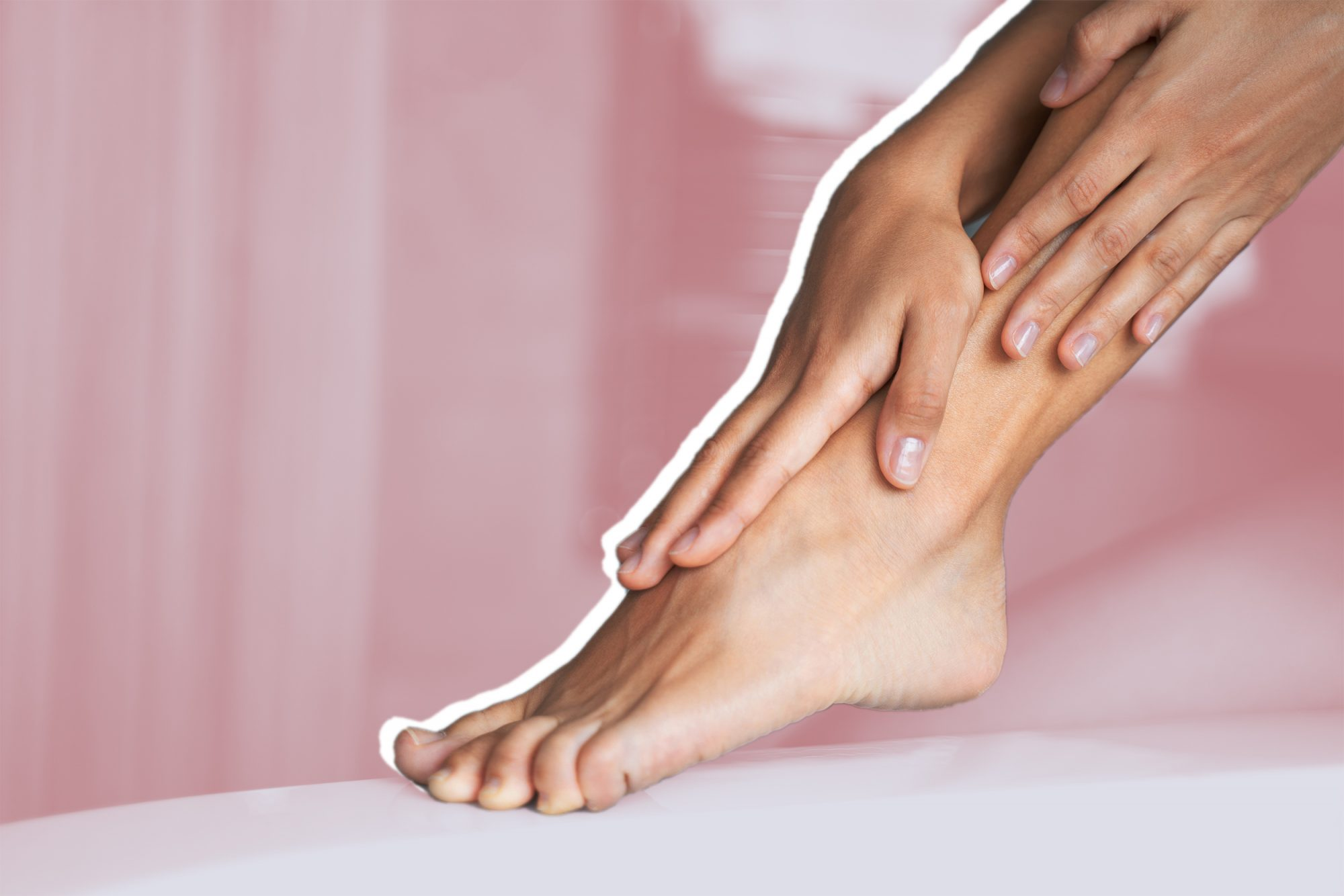 exfoliating-foot-mask , Woman applying a moisturizer on her legs