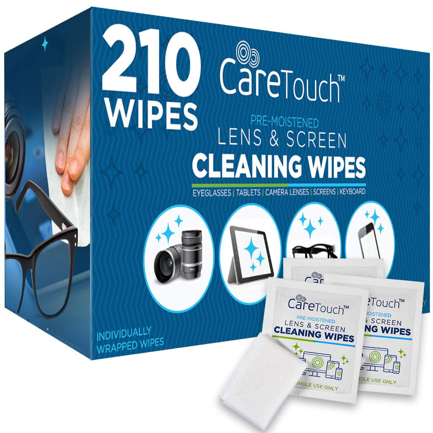 Care Touch Lens Cleaning Wipes, Pre Moistened Cleansing Cloths