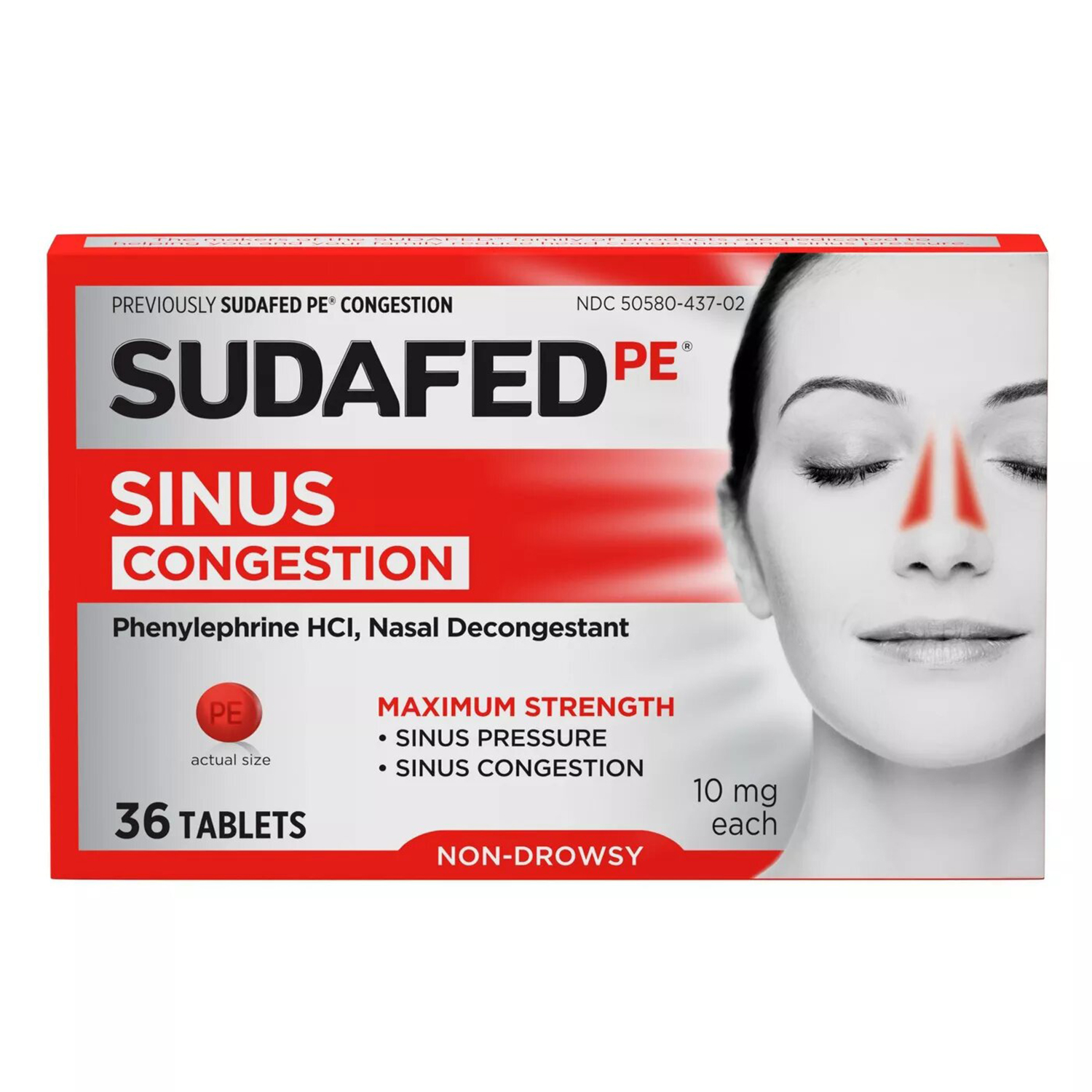 Sudafed PE Maximum Strength Congestion & Sinus Pressure Relief Tablets