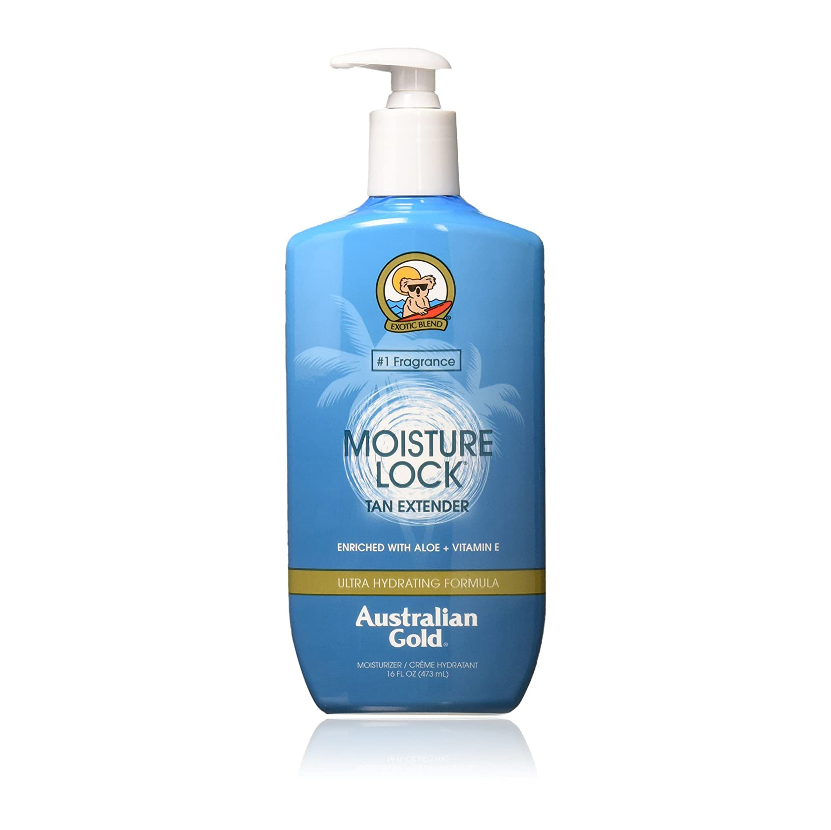 Australian gold moisture lock tan extending lotion in blue bottle with pump