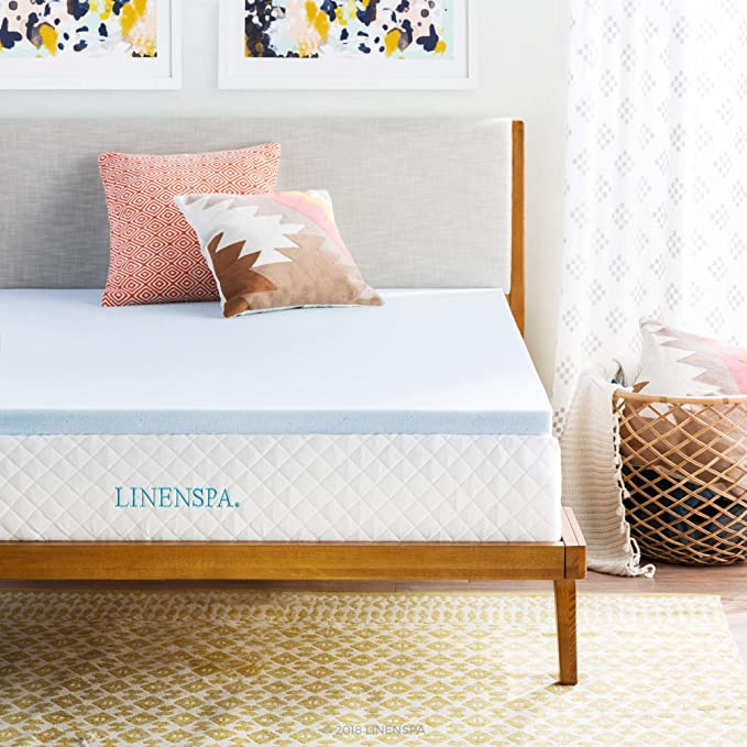 Linenspa Memory Foam Mattress Topper on queen bed with two plush pillows in bedroom