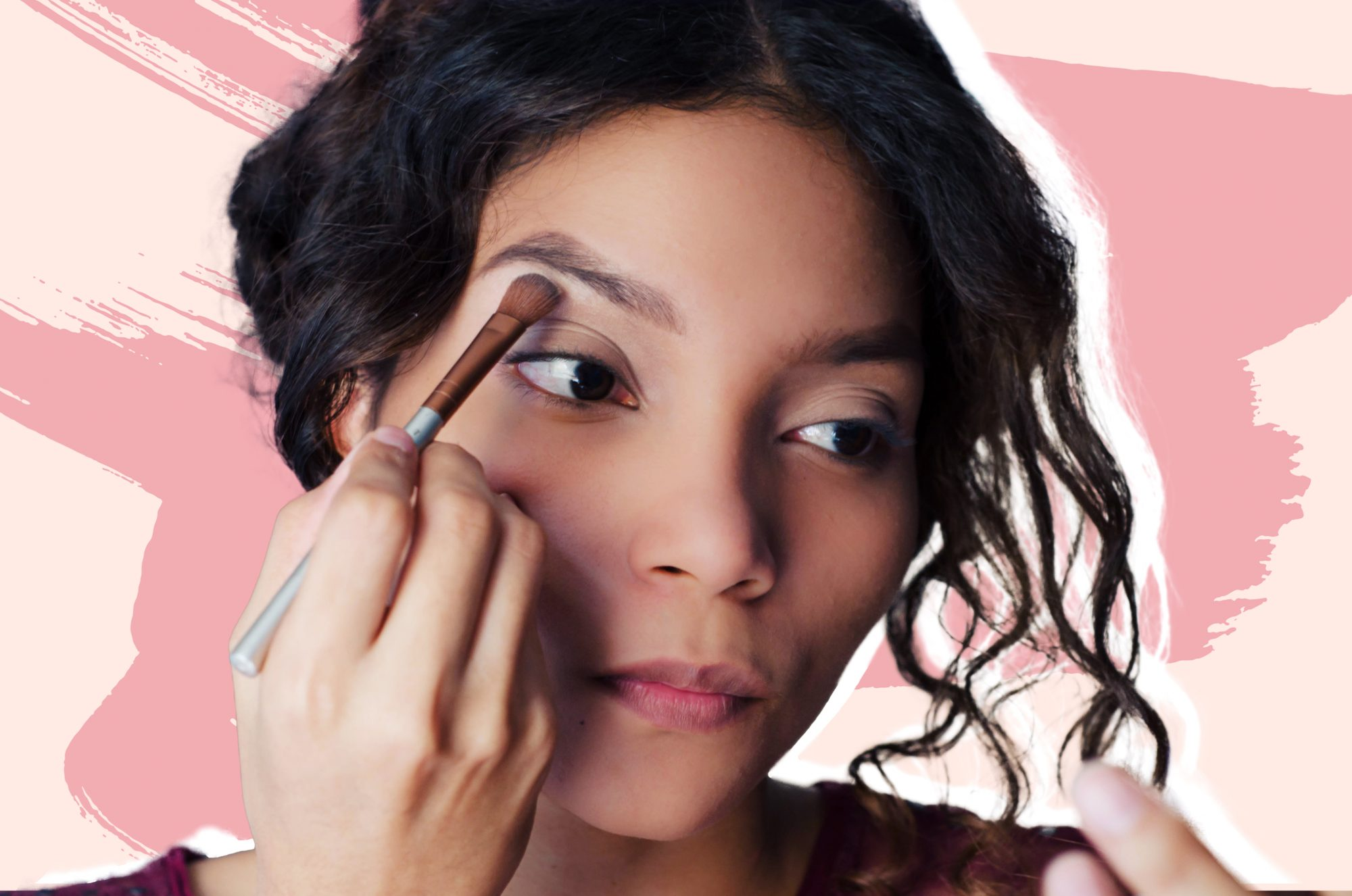 no-makeup-tutorial , Young beautiful woman applying eyeshadow with a makeup brush to her brow bone
