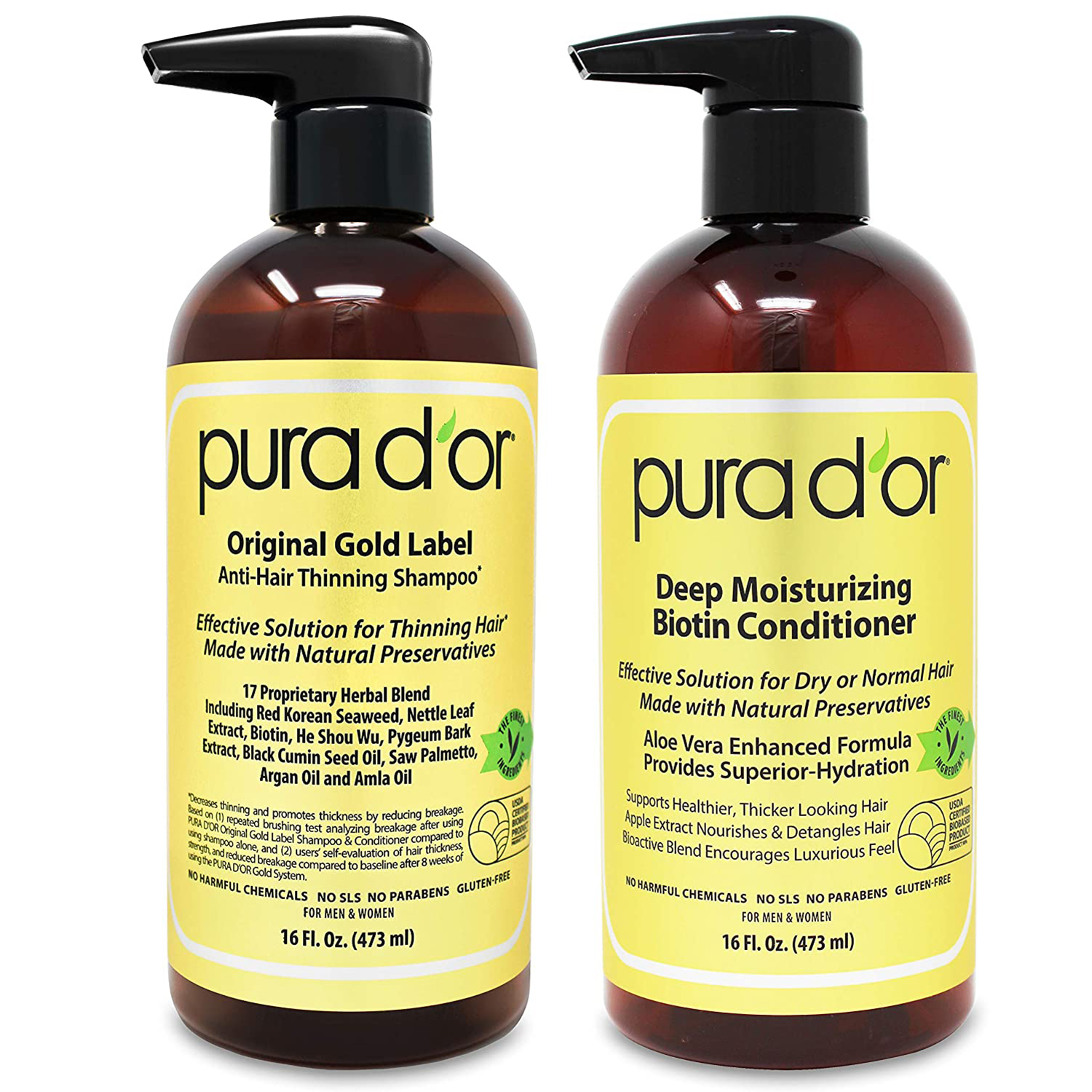 PURA D'OR Biotin Original Gold Label Anti-Thinning (16oz x 2) Shampoo & Conditioner Set