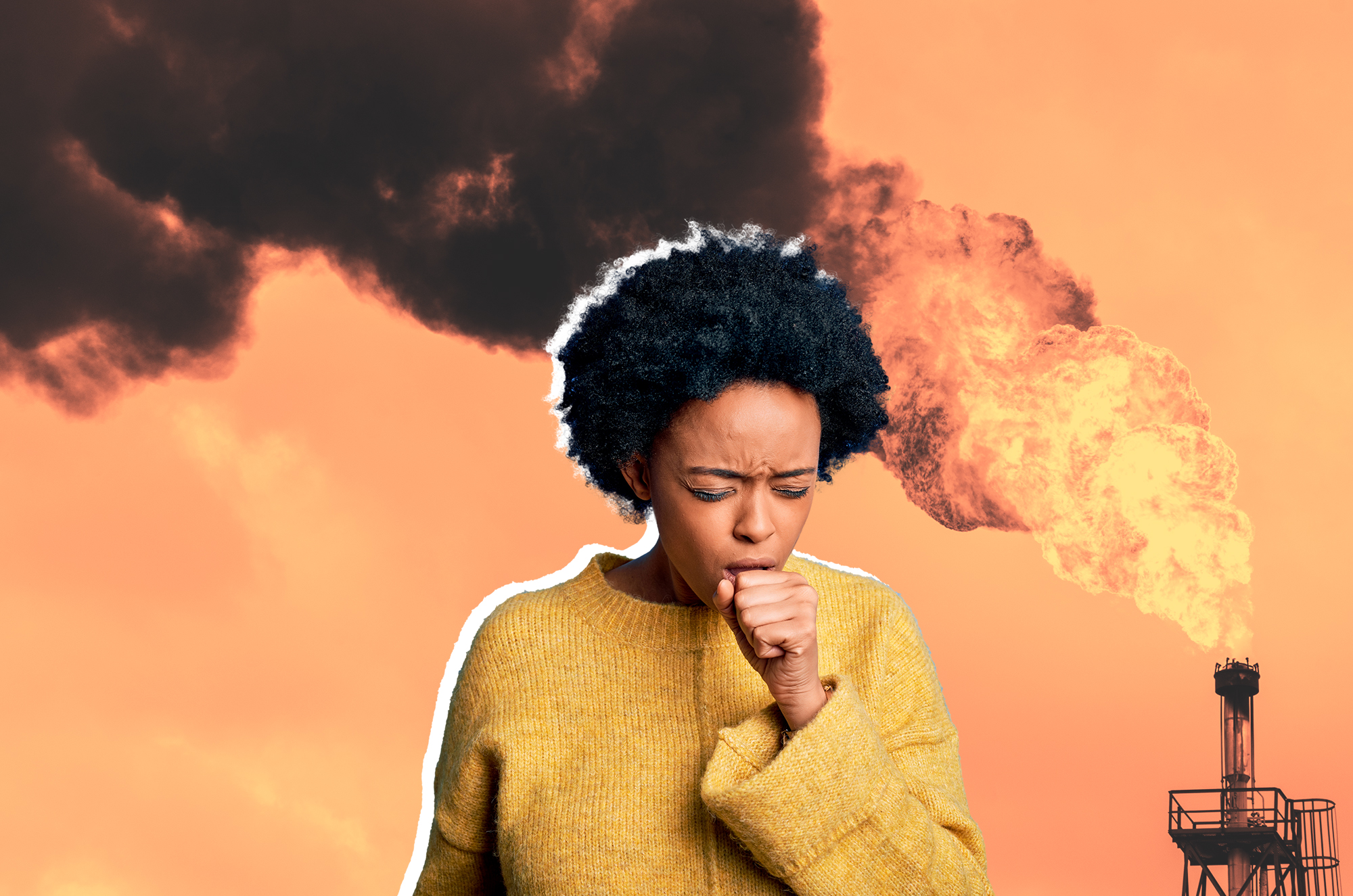 environmental racism , woman coughing Oil Refinery Flare Stack Against Sky