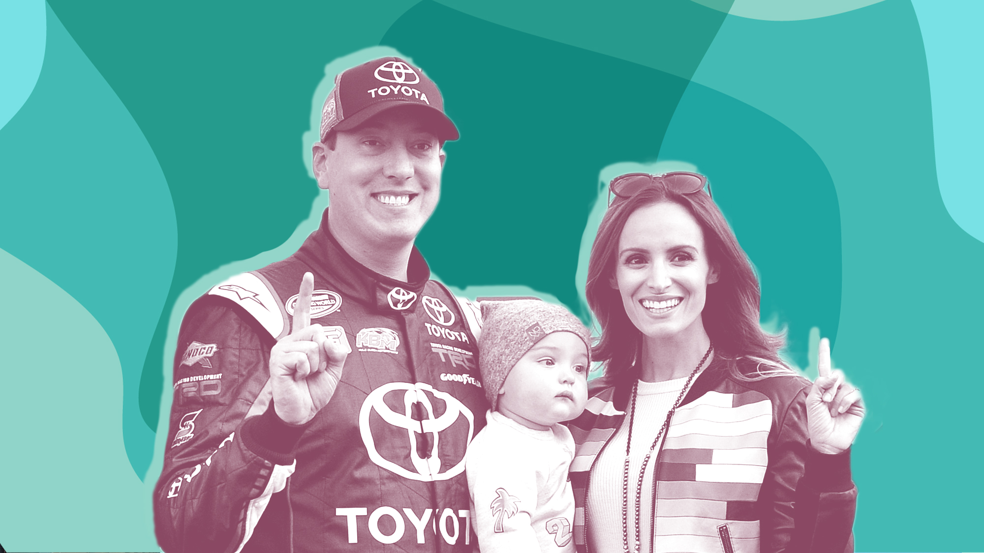 MARTINSVILLE, VA - APRIL 02: Kyle Busch, driver of the #18 Toyota Toyota, poses with his son Brexton and his wife Samantha in Victory Lane after winning the NASCAR Camping World Truck Series Alpha Energy Solutions 250 at Martinsville Speedway on April 2, 2016 in Martinsville, Virginia. (Photo by Drew Hallowell/Getty Images)