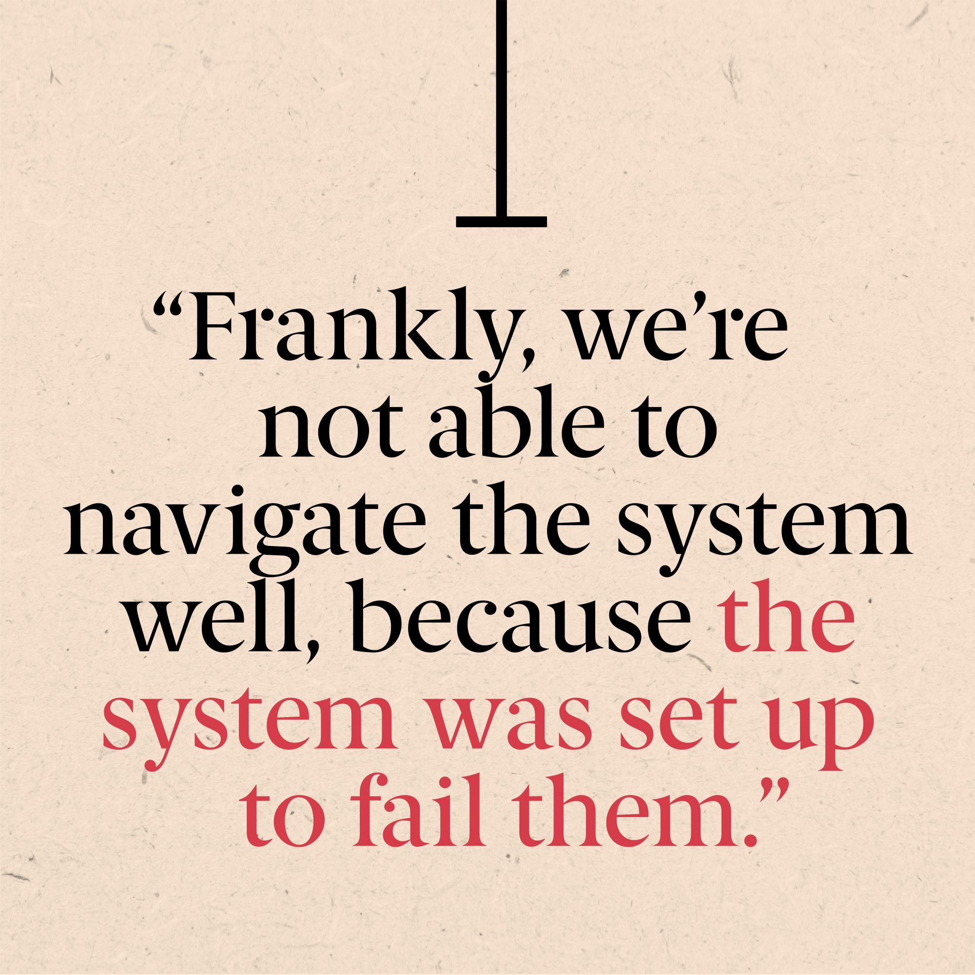 """""""frankly we're not able to navigate the system well, because the system was set up to fail"""""""