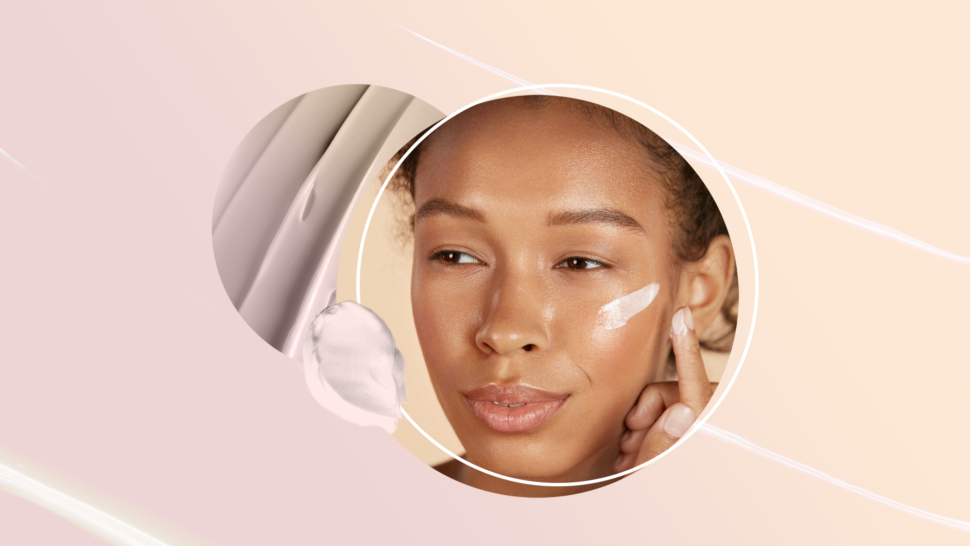 """Shoppers Say This """"Miracle"""" Face Cream Helps With Everything From Acne Scars to Lip and Forehead Wrinkles , Face skin care. Woman applying cosmetic cream on clean hydrated skin portrait. Beautiful happy smiling african americangirl model with natural makeup applying facial moisturizer, beauty product"""
