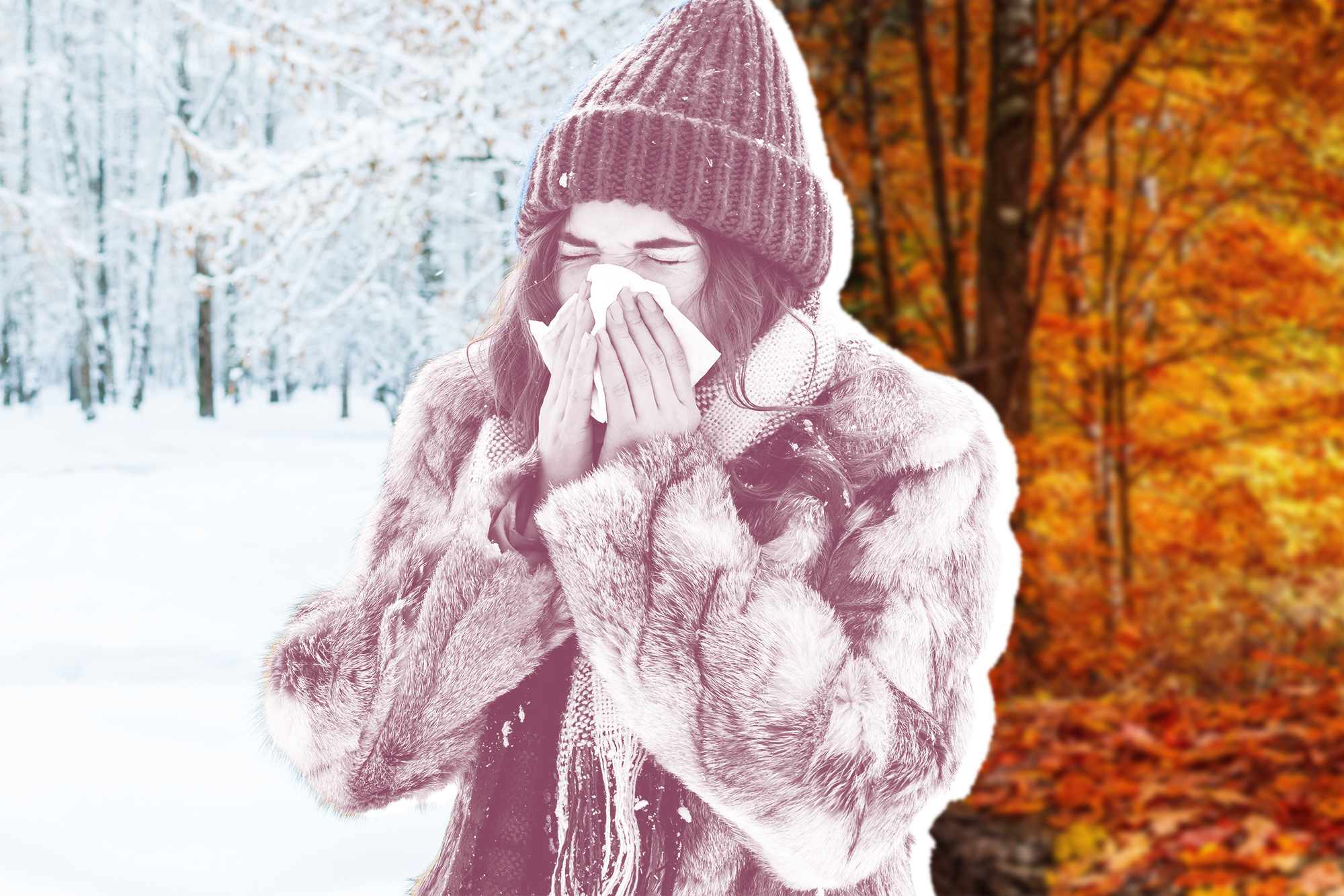 When Exactly is Flu Season? Doctors Explain How to Prepare , portrait of a young woman in the winter forest. a beautiful girl sneezes into a napkin. get sick in winter.