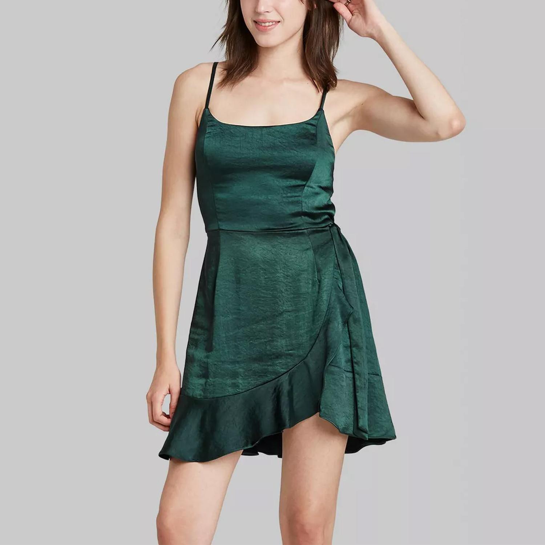 Wild Fable satin wrap dress