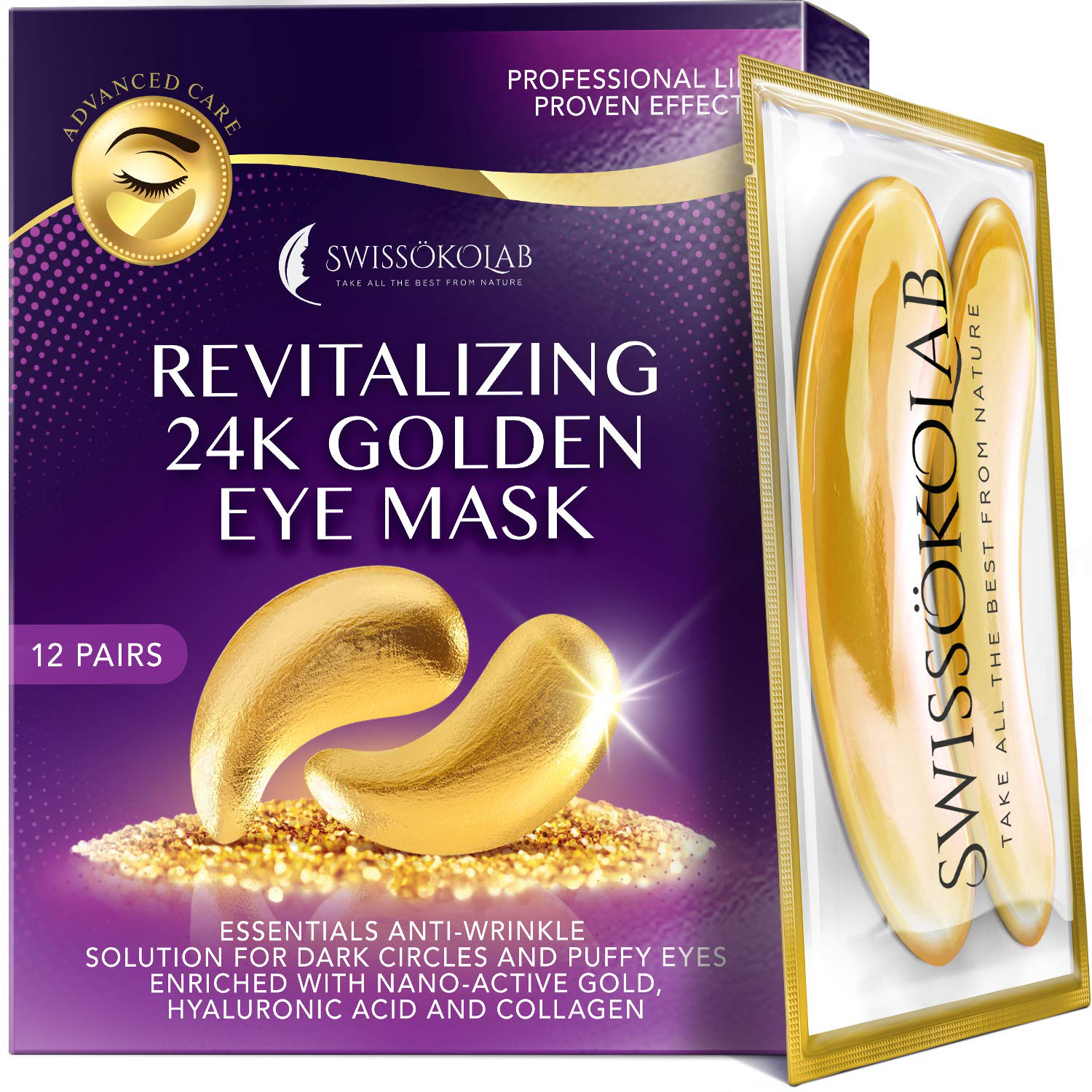 Under Eye Patches For Puffy Eyes 24k Gold Eye Mask For Dark Circles And Puffiness Collagen Eye Gel Pads
