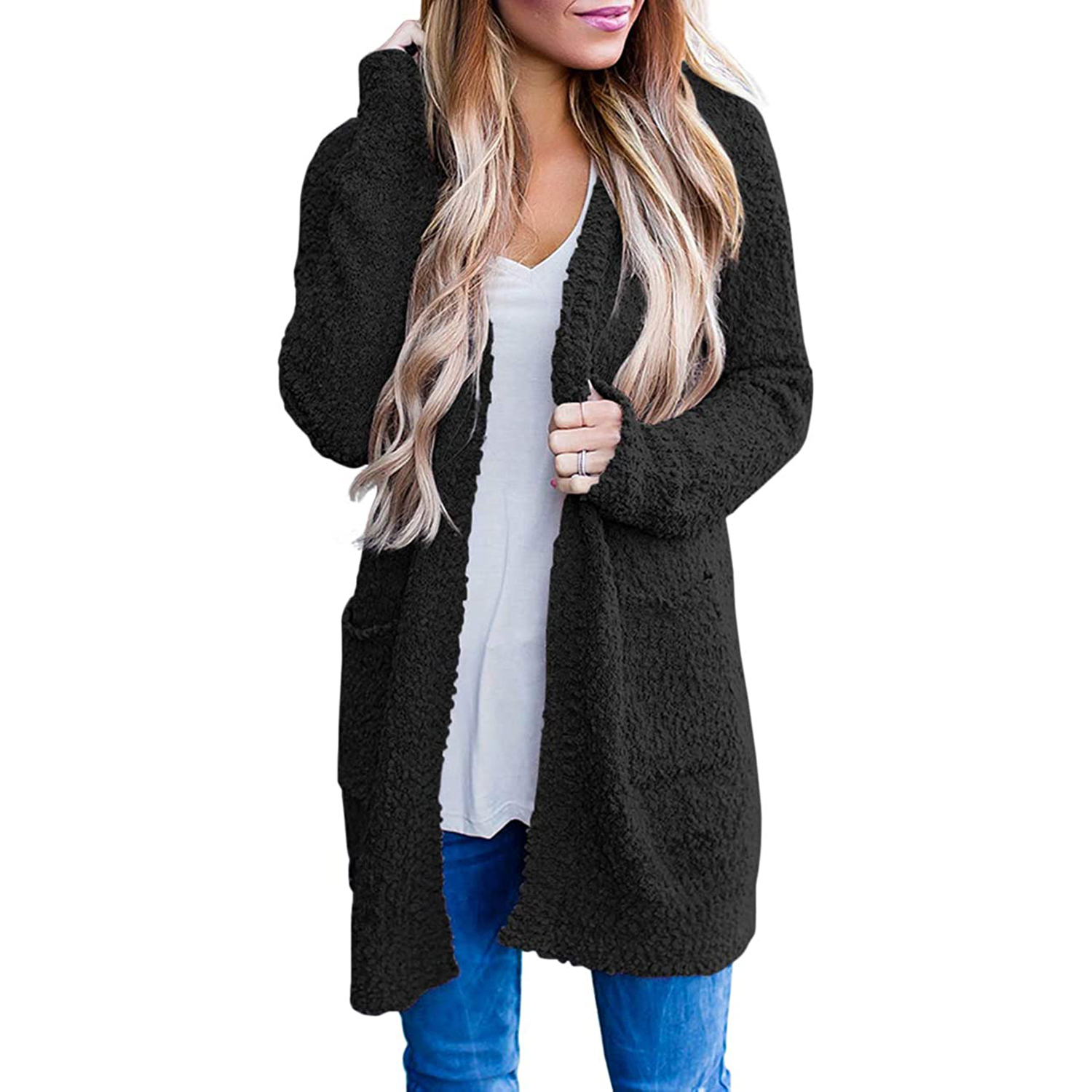 Long Sleeve Soft Chunky Knit Sweater Open Front Cardigan