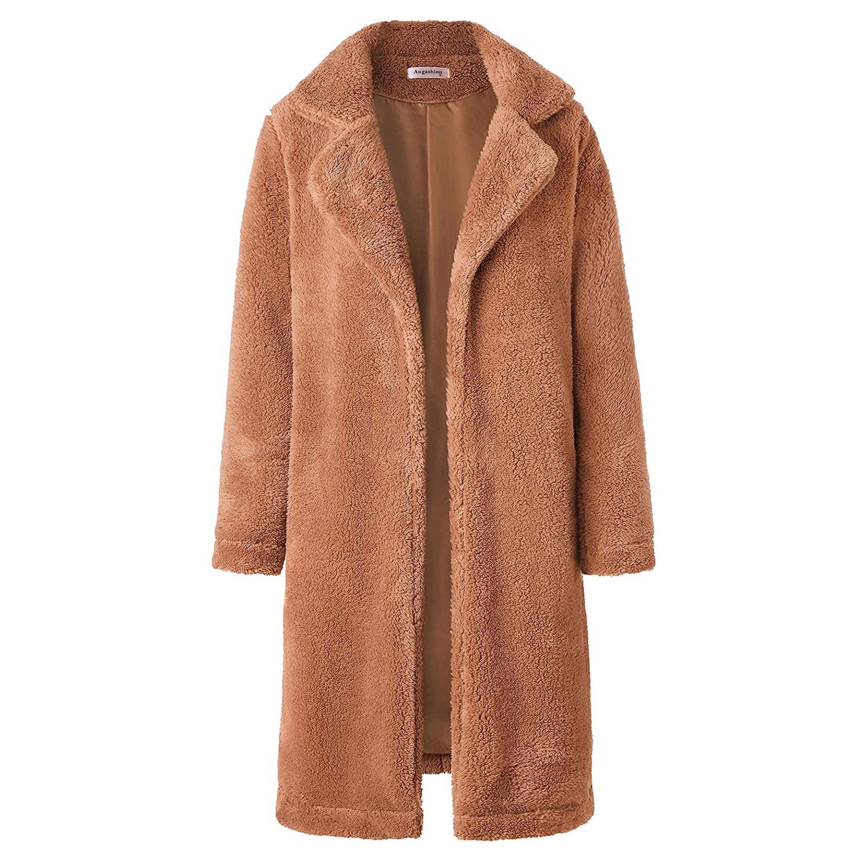 Angashion Women's Fuzzy Fleece Lapel Open Front Long Cardigan Coat Faux Fur
