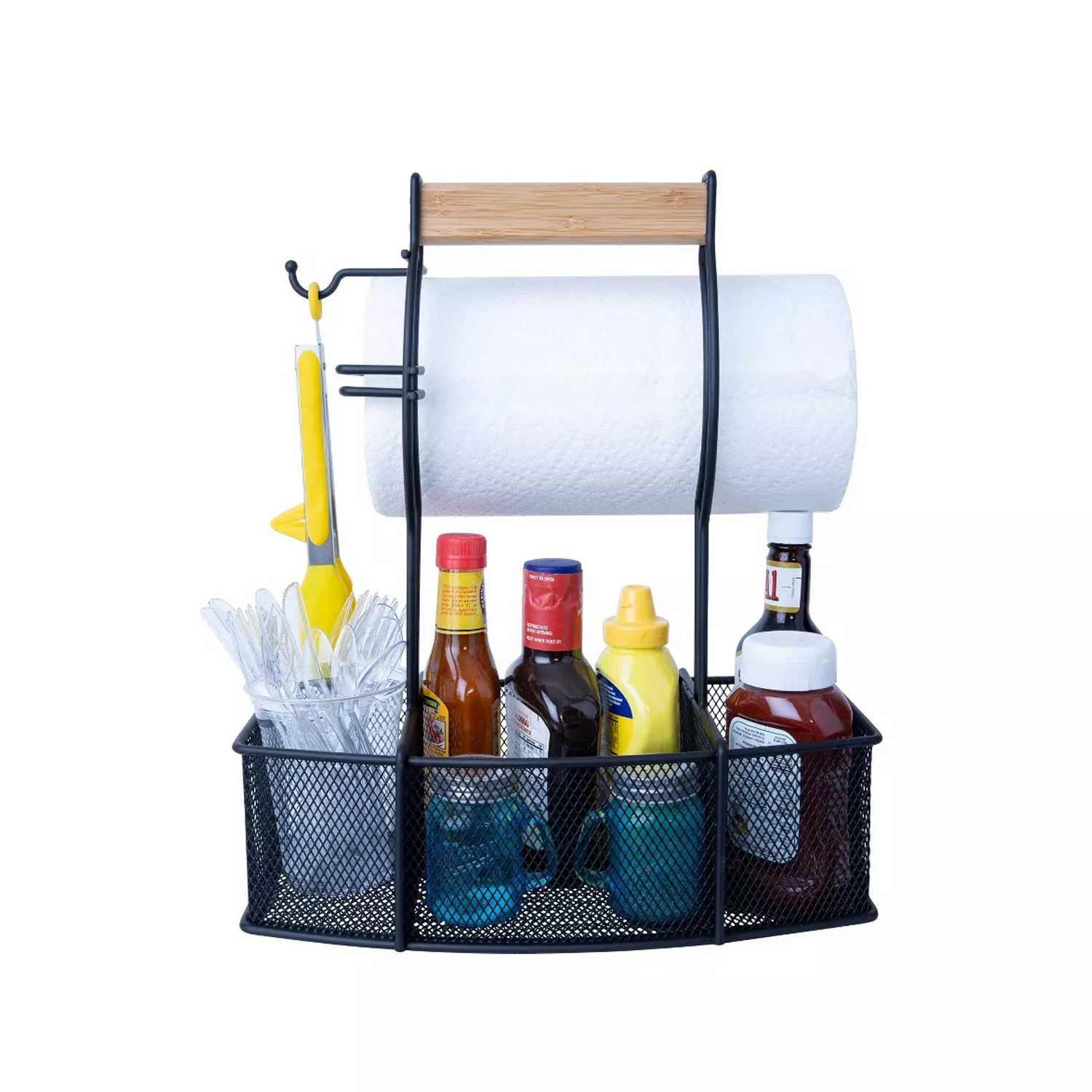 black caddy kit with paper towels, plastic forks spoons and knives, and condiments
