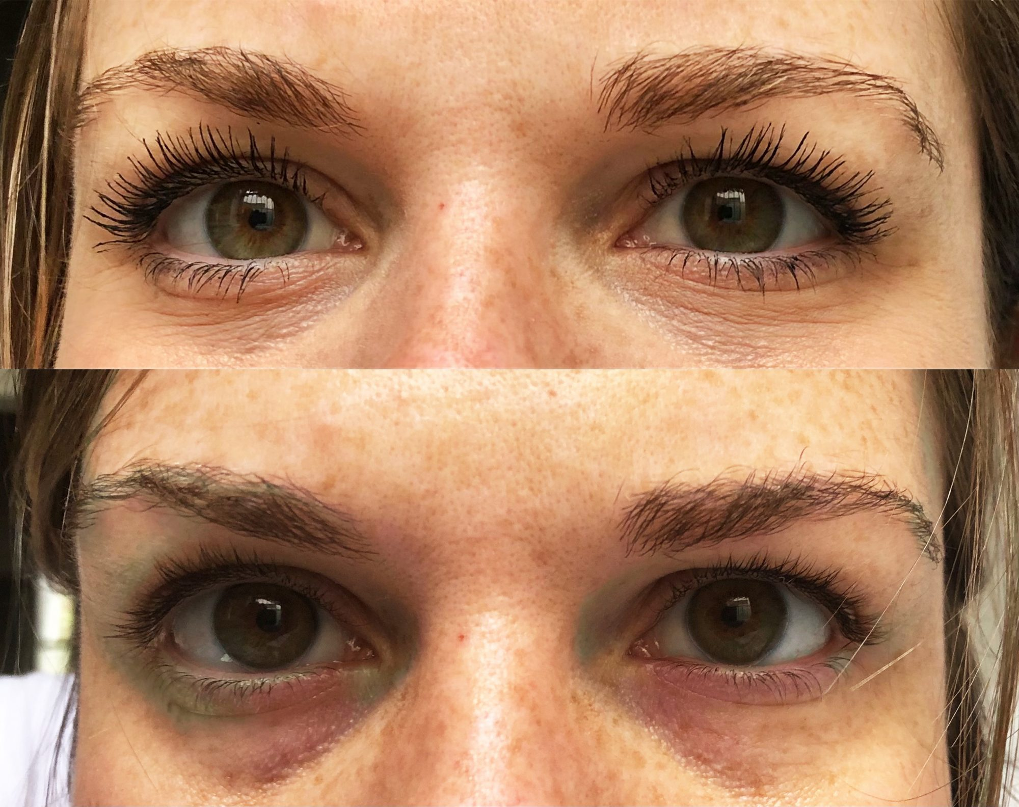 Lily Lolo Vegan Mascara Before and After of Eyes With and Without Mascara