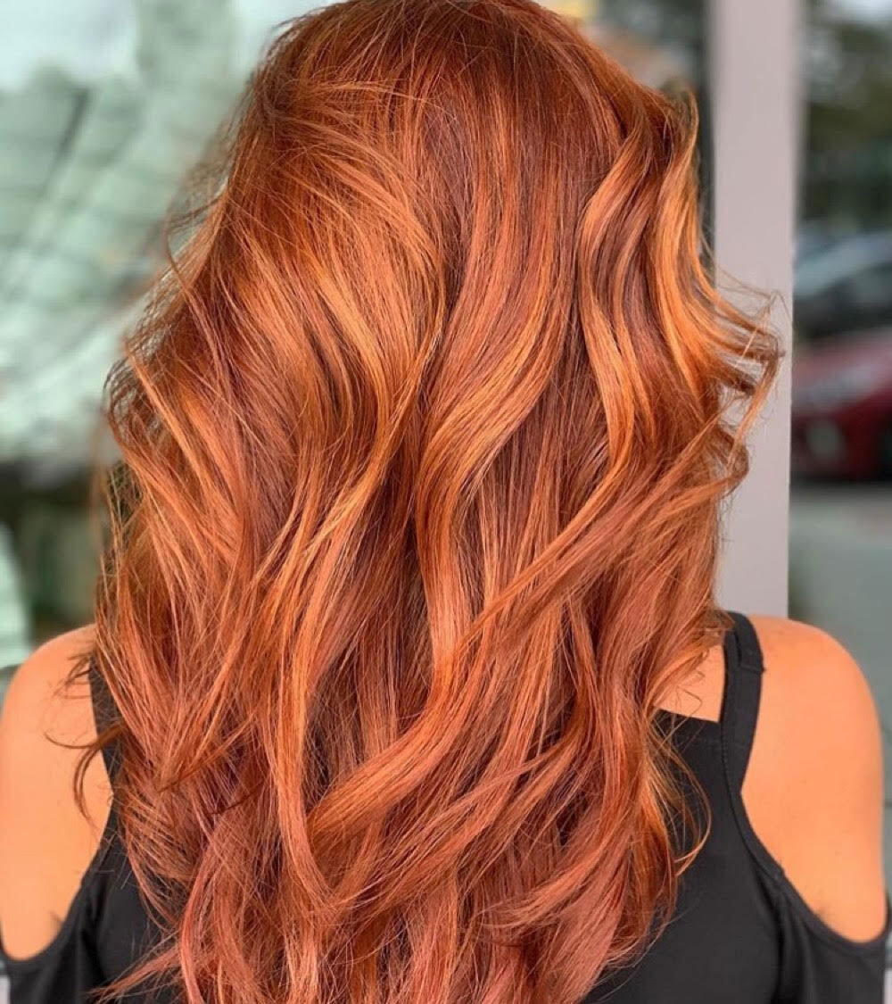 bright long red hair