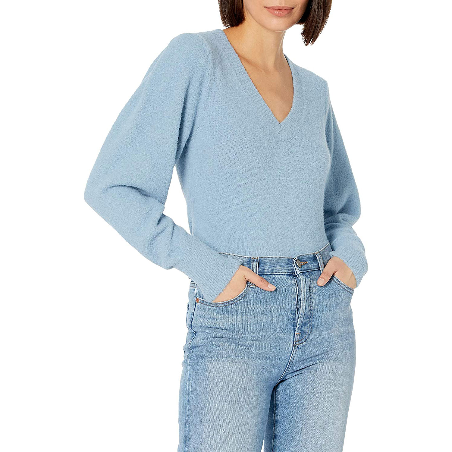 drop women's edith pleated shouler v-neck sweater