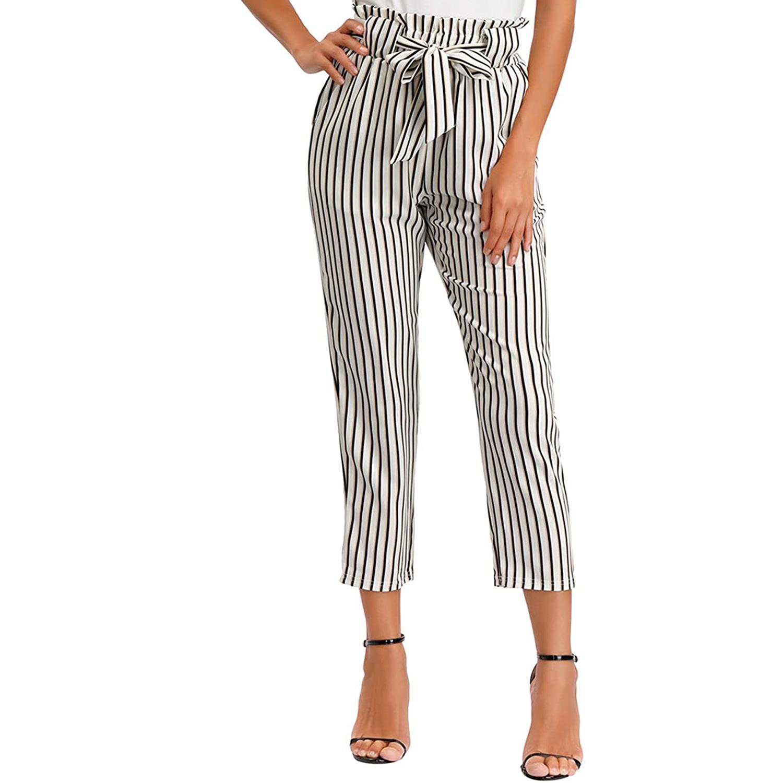 Stripped Waist Woven Pants