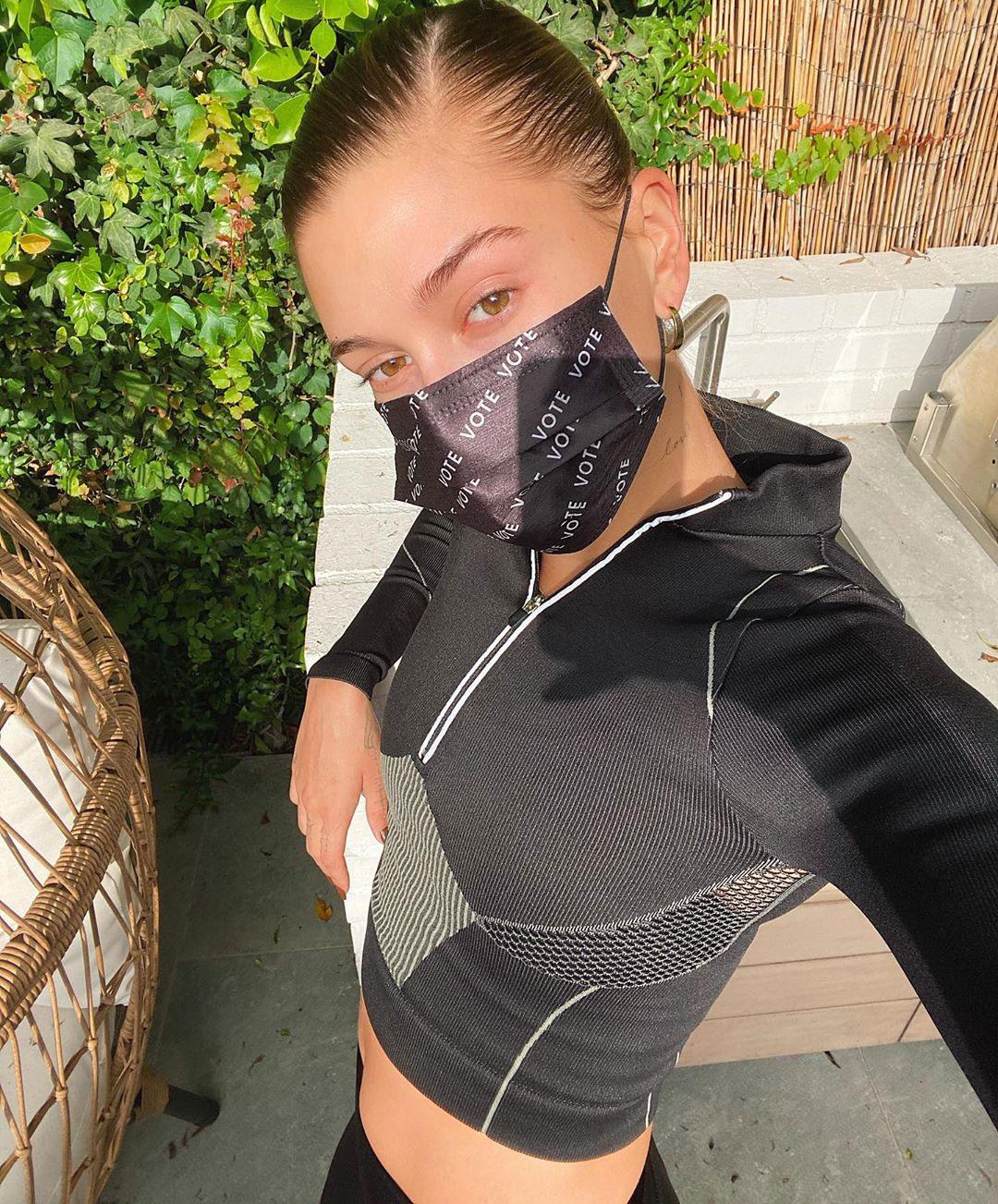 Hailey Bieber vote face mask