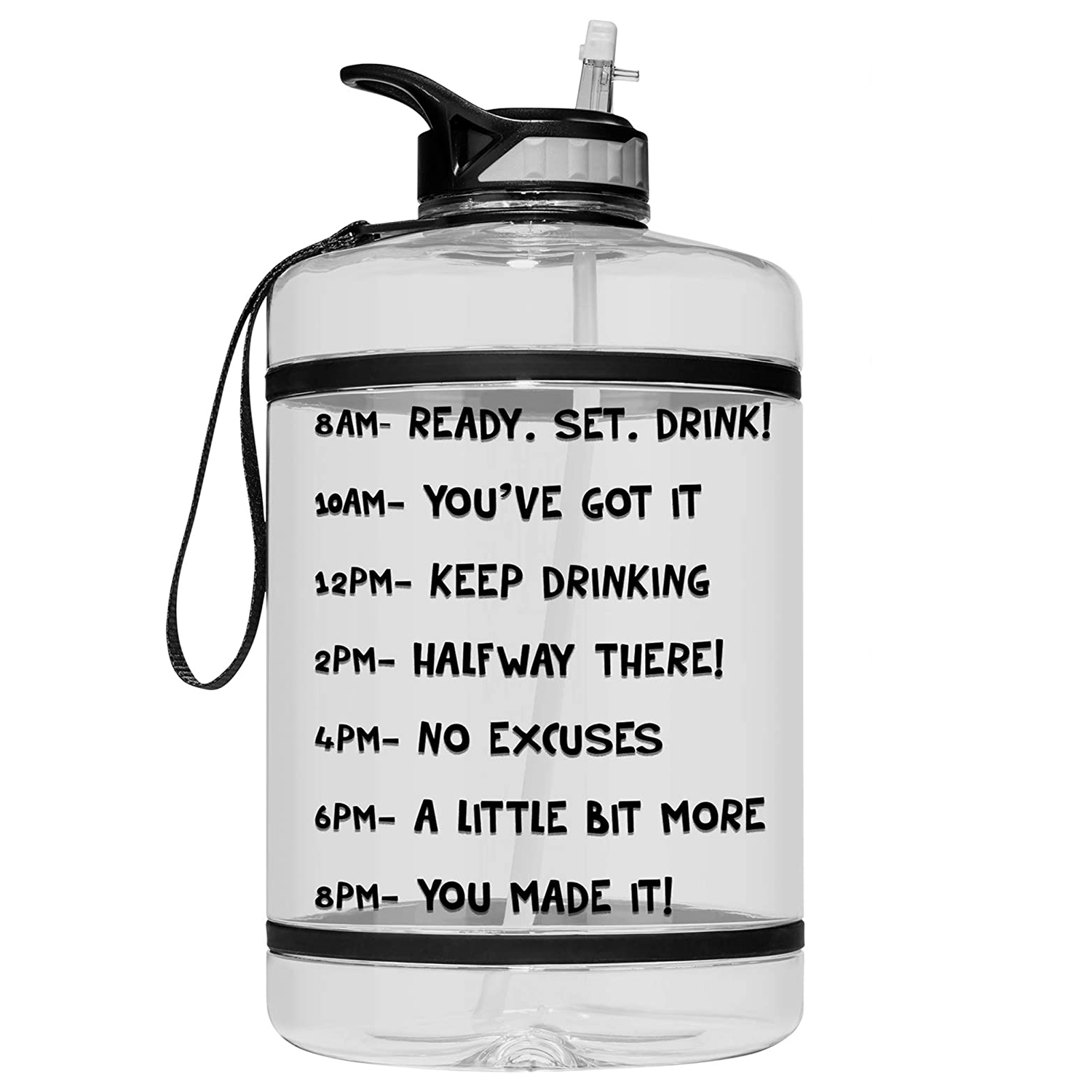 HydroMATE Gallon Motivational Water Bottle with Time Marker