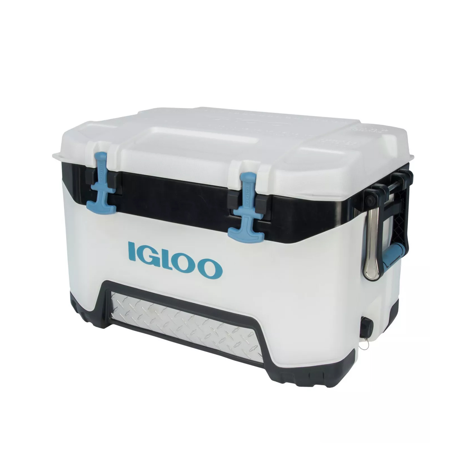 white, gray and blue igloo cooler