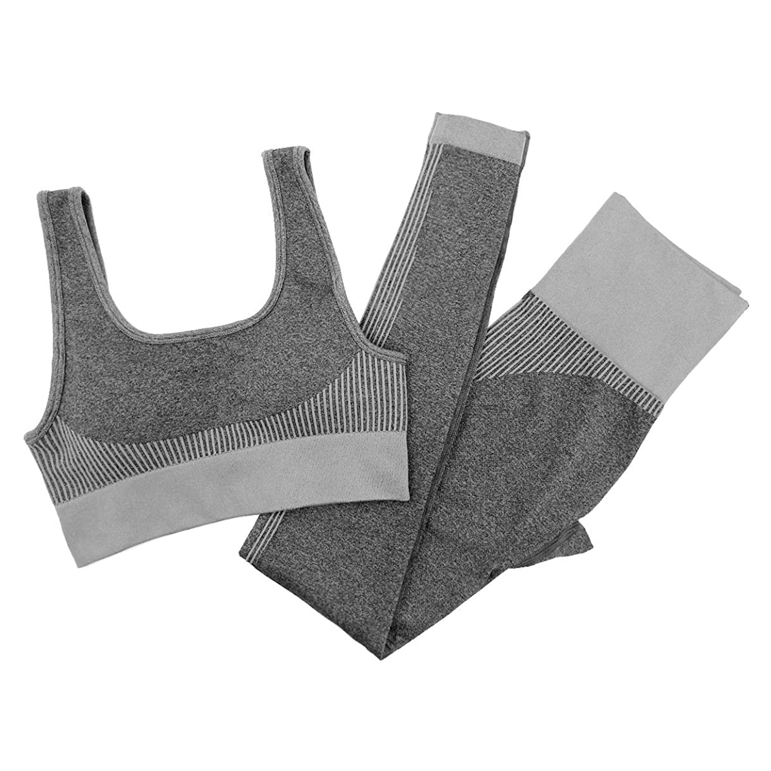 Jetjoy bbmee Exercise Outfits for Women 2 Pieces Ribbed Seamless Yoga Outfits Sports Bra and Leggings Set