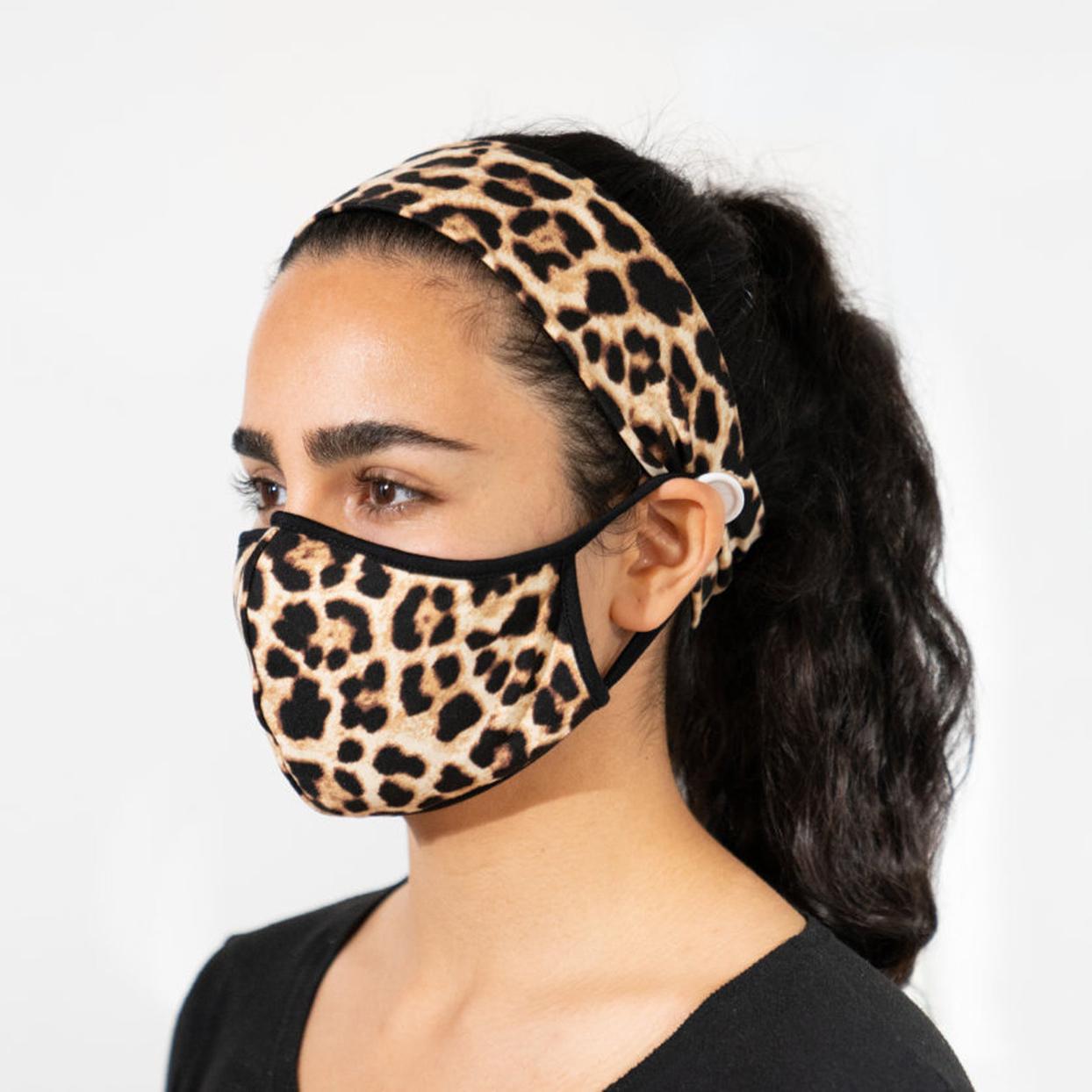 Leopard Face Mask Headband Set