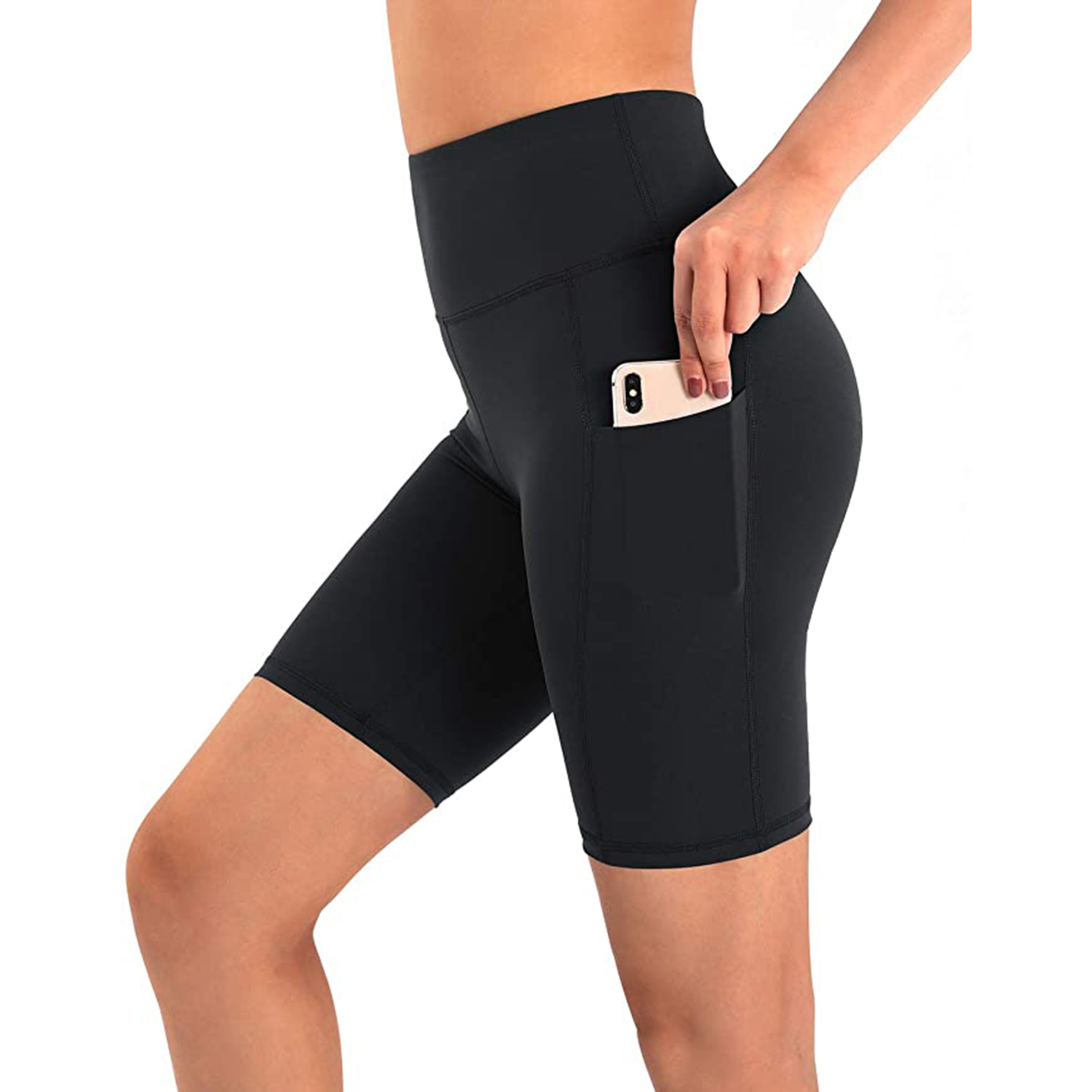 Promover High Waist Biker Yoga Shorts for Women with Pockets Workout Running Compression Shorts