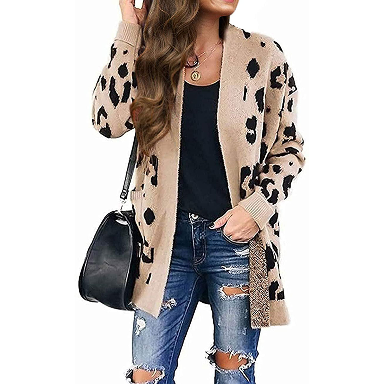 women's long sleeve leopard print knitted sweater cardigan, beige