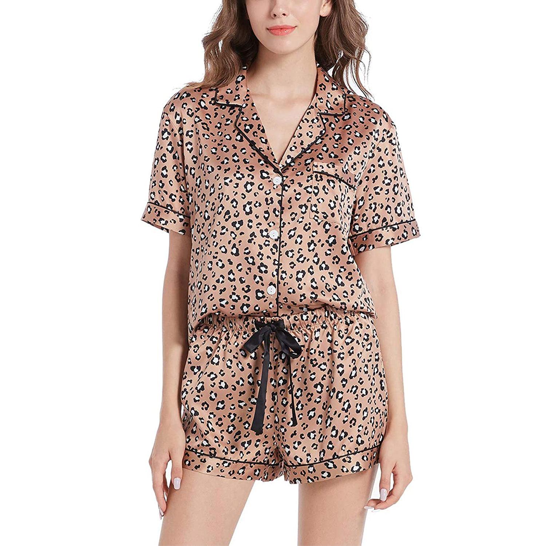 womens silky satin pajamas short sleeve pj set sleepwear loungewear