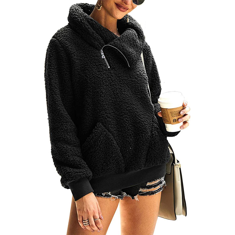 women's winter lapel sweatshirt faux shearling pullover, black