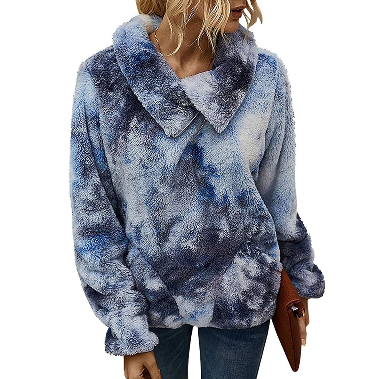 women's winter lapel sweatshirt faux shearling pullover, tie-dye
