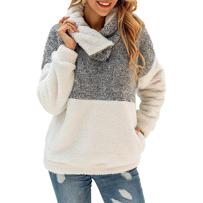 women's winter lapel sweatshirt faux shearling pullover, gray