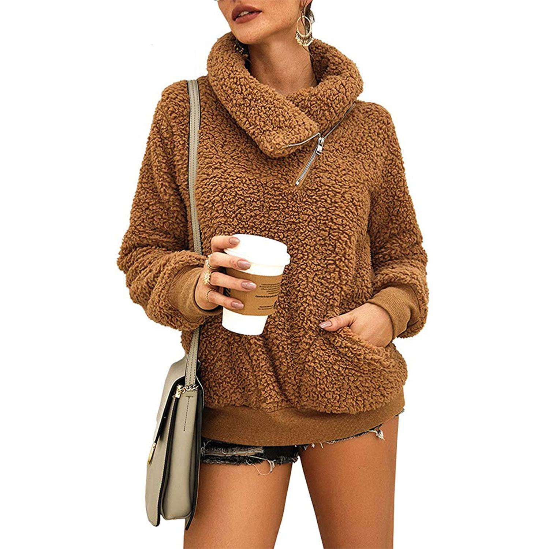 women's winter lapel sweatshirt faux shearling pullover, khaki