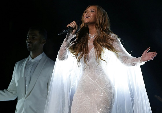 """Beyonce performs """"Take My Hand"""" at the 57th annual Grammy Awards in Los Angeles"""