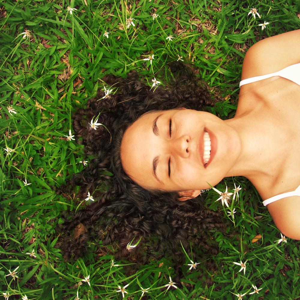 happy girl lying